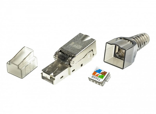 Modular male connector, 8P8C (RJ-45), cat. 6, shielded, toolless