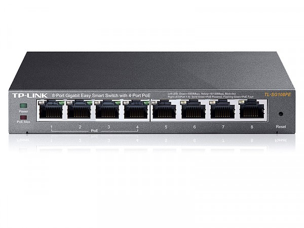 Smart switch,   8x 10/100/1000 RJ-45, PoE, desktop (TP-Link TL-SG108PE)