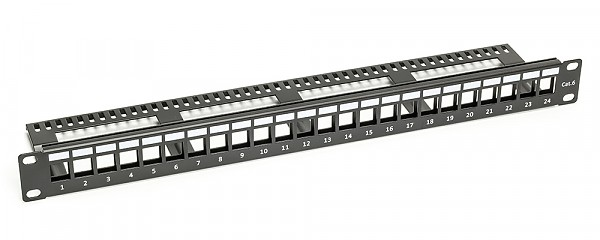 "Patch panel, 24-port, 1U, 19"", blank, w/cable holder"