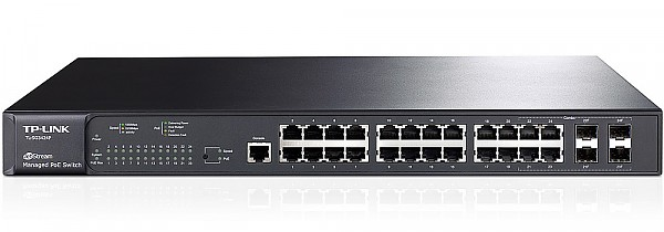 "Managed switch, 24x 10/100/1000 RJ-45, 4 slide-in SFP slot, PoE, 19"" (TP-Link T2600G-28MPS (TL-SG3424P))"
