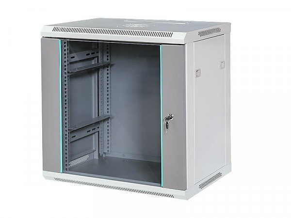 "12U rack cabinet, 19"", wall-mounted, glass door, 600x600x450mm"