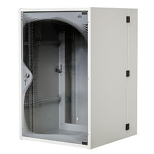 "Double-section wall-mounted 19"" cabinet, 18U, EcoVARI PLUS, glass door, 840 x 550 x 600 mm"