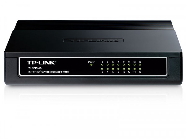 Unmanaged switch, 16x 10/100 RJ-45, desktop (TP-Link TL-SF1016D)