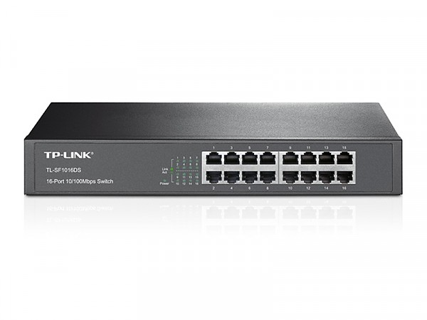 "Unmanaged switch, 16x 10/100 RJ-45, 19"" Rack-mounting Bracket (TP-Link TL-SF1016DS)"