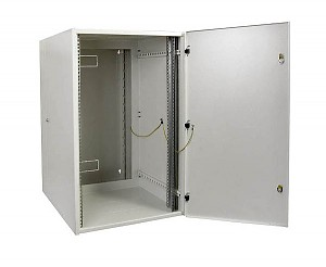 "Double-section wall-mounted 19"" cabinet, 18U, EcoVARI PLUS, steel door, 840 x 550 x 600 mm"