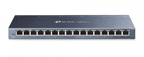 Unmanaged switch, 16x 10/100/1000 RJ-45, desktop (TP-Link TL-SG116)