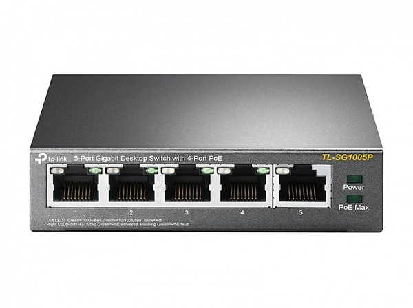 Unmanaged switch, 5x 10/100/1000 RJ-45, PoE (TP-Link TL-SF1005P)