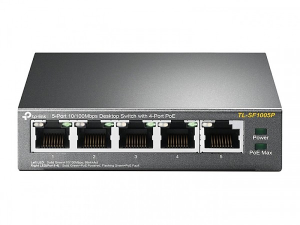 Unmanaged switch, PoE,  5x 10/100 RJ-45, desktop (TP-Link TL-SF1005P)