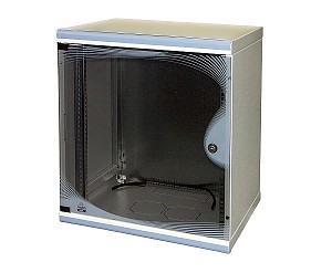 "Wall-mounted 19"" cabinet, 9U, DecoVARI, glass door, 480 x 550 x 450 mm, adjustable mounting profiles"