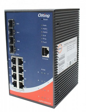 Managed switch,  8x 10/1000 RJ-45 PoE + 4 slide-in SFP slots, O/Open-Ring <20ms (ORing IGPS-9084GP-L)