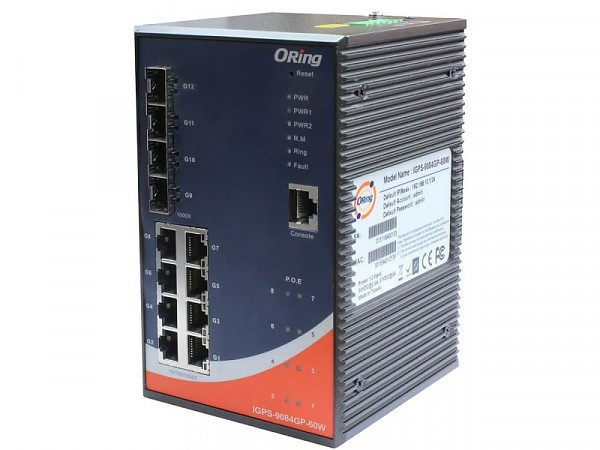 ORing IGPS-9084GP-60W, Industrial Managed switch, 8x 10/1000 RJ-45 PoE + 4 slide-in SFP slots, O/Open-Ring <20ms