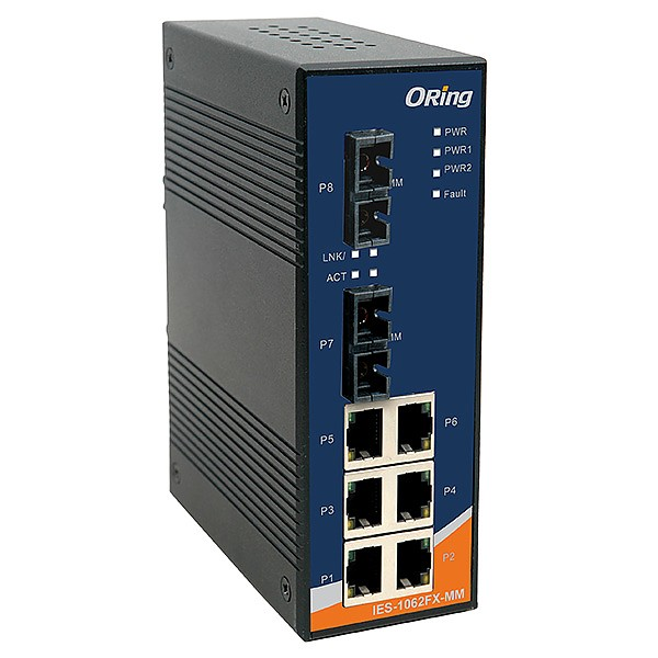 IES-1062FX-MM-SC, Industrial 8-port Unmanaged Ethernet Switch, DIN, 6x 10/100 RJ-45 + 2x 100 MM SC