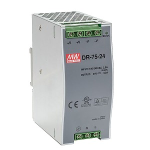 Power supply  76W 24VDC, DIN TS35 (Mean Well DR-75-24)