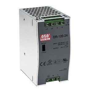 DR-120-24, Power supply 120W 24VDC, DIN TS35 (Mean Well DR-120-24)