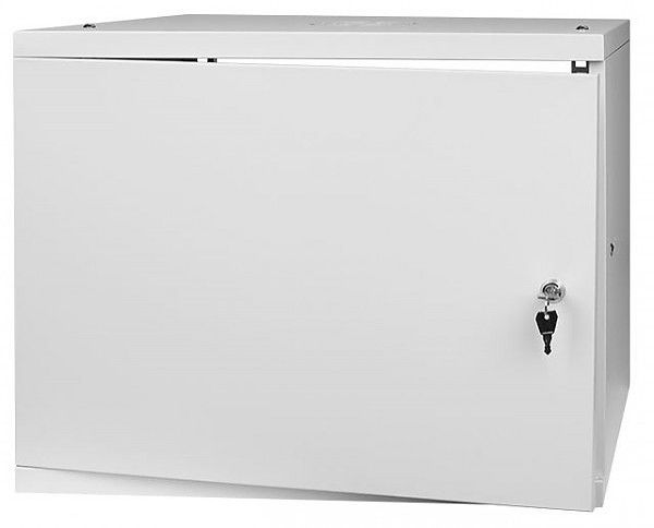 "Wall-mounted 19"" cabinet, 9U, steel door, 452x523x450 mm, flat pack"