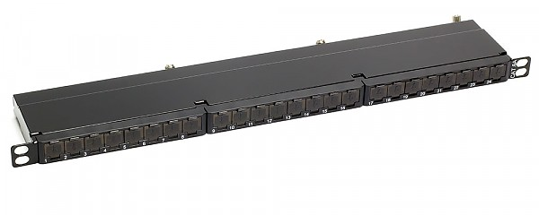 "24 port patch panel, FTP, cat. 6A, 0.5U, 19"", IDC 110"