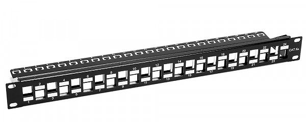 "24 port patch panel, Keystone, FTP, cat. 6A, 1U, 19"", staggered, blank"