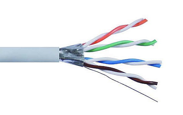 UFTP Cat6A Network Cable, grey, solid copper wire 23 AWG, 305m, solid