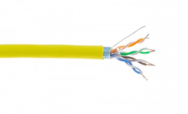 Cable F/UTP  Wave Cables, cat.5E, yellow, LSOH, 4x2x24 AWG, 305 m, solid