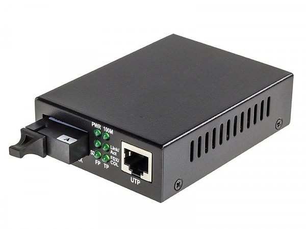 Media converter 10/100/1000 Mbps RJ-45/SC, SM 1310nm, 20km, WDM (Wave Optics, WO-KB-SWS-020K-A)