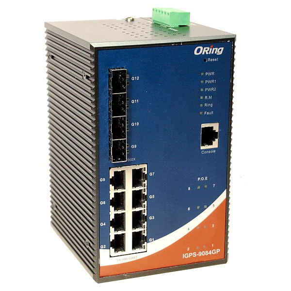 IGPS-9084GP, Industrial 12-port managed Gigabit PoE Ethernet switch, DIN, 8x 10/1000 RJ-45 PoE + 4 slide-in SFP slots, O/Open-Ring <20ms