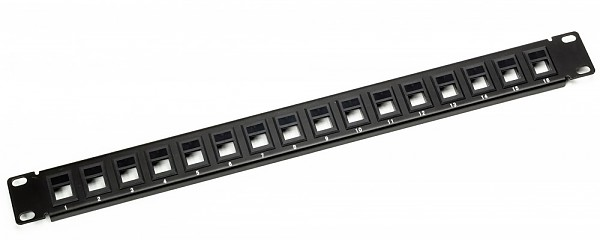 "Patch panel, 16-port, keystone, 1U, 19"", blank"