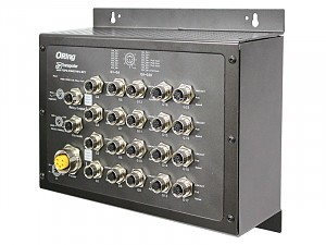 Managed switch, 16x 10/100/1000 M12 PoE, 4x 10/100/1000 M12, Bypass, O/Open-Ring <10ms (ORing TGPS-9164GT-M12-BP2-24V)