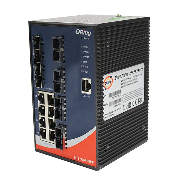IGS-9844GPF-MM-SC, Industrial Managed Switch, DIN, 8x 10/1000 RJ-45 + 4x 100/1000 SFP + 8x1000 MM SC, O/Open-Ring <30ms