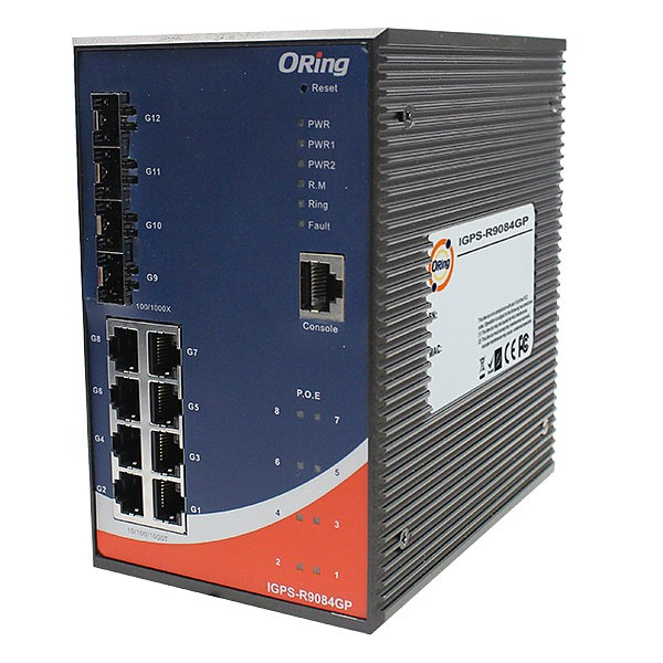 Managed switch, L3,  8x 10/1000 RJ-45 PoE + 4 slide-in SFP slots, O/Open-Ring <20ms (ORing IGPS-R9084GP)