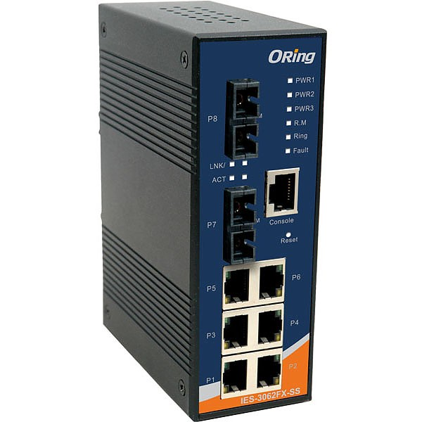 AIES-3062FX-SS-SC, Managed switch, DIN, 6x 10/100 RJ-45 + 2x 100 SM SC, O/Open-Ring <10ms, C1D2/ATEX