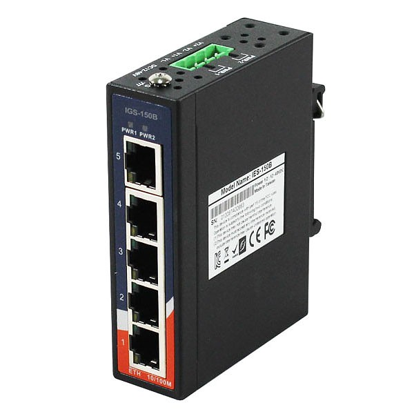 IGS-150B, Industrial 5-port mini type unmanaged Gigabit Ethernet switch, DIN, 5x 10/1000 RJ-45