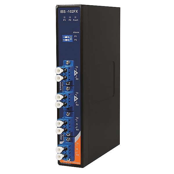 IBS-102FX-MM-LC, Industrial 2-port optical bypass switch for fiber optical network with 4xLC duplex Connector, DIN