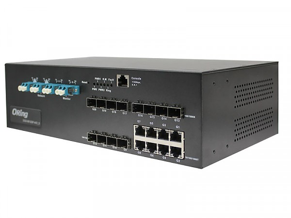 DGS-9812GP-SS-AIO_S, Industrial 20-port managed Gigabit Ethernet switch, 8x 10/1000 RJ-45 + 12x100/1000 SFP w/DDM, LC Bypass Port, O/Open-Ring <30ms
