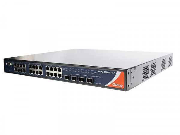 RGPS-R9244GP+NP-P, Industrial Layer-3 28-port managed Gigabit PoE Ethernet switch, 24x 10/1000 RJ-45 PoE + 4 1G/10G SFP+ slots, O/Open-Ring <30ms