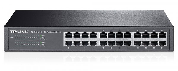 "Unmanaged switch, 24x 10/100/1000 RJ-45, 11.6"", 19"" Rack-mounting Bracket (TP-Link TL-SF1024D)"
