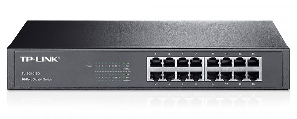 "Unmanaged switch, 16x 10/100/1000 RJ-45, 11.6"", 19"" Rack-mounting Bracket (TP-Link TL-SF1016D)"