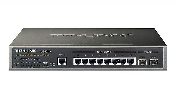 "Managed switch,  8x 10/100/1000 RJ-45, 2 slide-in SFP slot, 19"" Rack-mounting Bracket (TP-Link TL-SG3210)"
