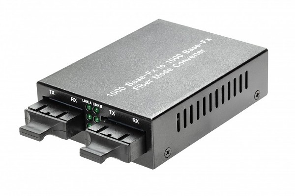 Media converter 1000M MM/SM, 1310nm, 2/20km