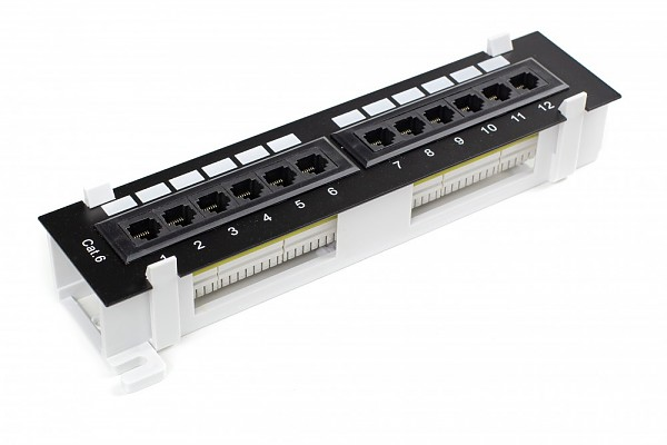 12 port patch panel, UTP, cat. 6, wall-mounted, dual-block type