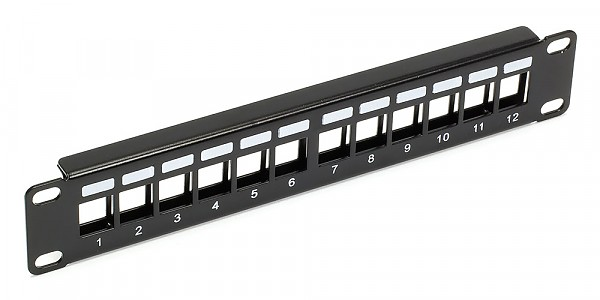 "Patch panel, 12-port, keystone, 1U, 10"", blank"