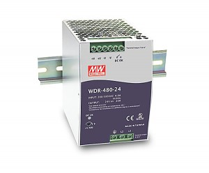 Power supply 480W 24VDC, P.F.C., DIN TS35 (Mean Well WDR-480-24)