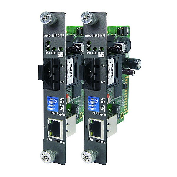 RMC-111FB-MM, Industrial Rack-mount card type Ethernet to fiber media converter, 1x 10/100Base-TX + 1x 100Base-FX fiber (MM SC)