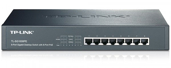 "Unmanaged switch,  8x 10/100/1000 RJ-45, PoE, 11,6"", 19"" Rack-mounting Bracket (TP-Link TL-SF1008PE)"