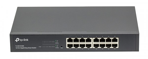 "Smart switch, 16x 10/1000 RJ-45, 19"" Rack-mounting Bracket (TP-Link TL-SG1016DE)"