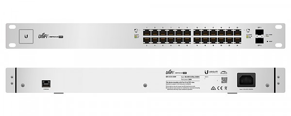 "Managed switch, 24x 10/1000 RJ-45, 2x SFP, PoE+, 19"" (Ubiquiti UniFi US-24-250W)"