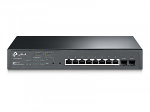 "Smart switch, 8x 10/100/1000 RJ-45, 2 SFP slots, PoE+, 19"" (TP-Link T1500G-10MPS)"