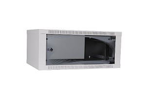 "Wall-mounted 19"" cabinet,  4,5U, EcoVARI, glass door, 260x600x400 mm"