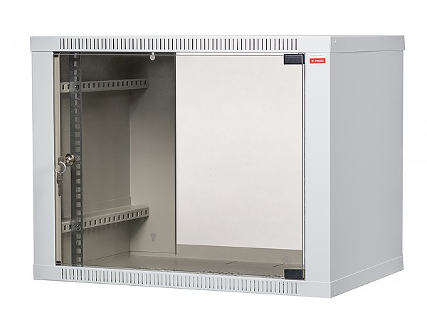 "Wall-mounted 19"" cabinet,  9U, EcoVARI, glass door, 460x600x400 mm"