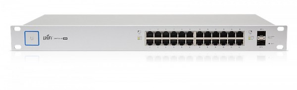 "Managed switch, 24x 10/1000 RJ-45, 2x SFP, PoE+, 19"" (Ubiquiti UniFi US-24-500W)"