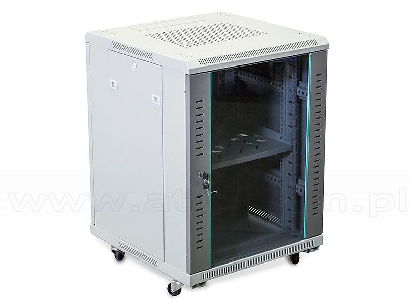 15U Cabinet Floor Standing Rack 19 Glass Door 760x600x600mm